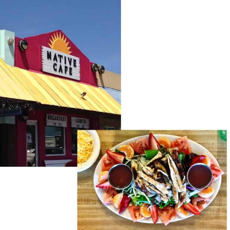 collage of exterior of Native Cafe with yellow awning and plated food