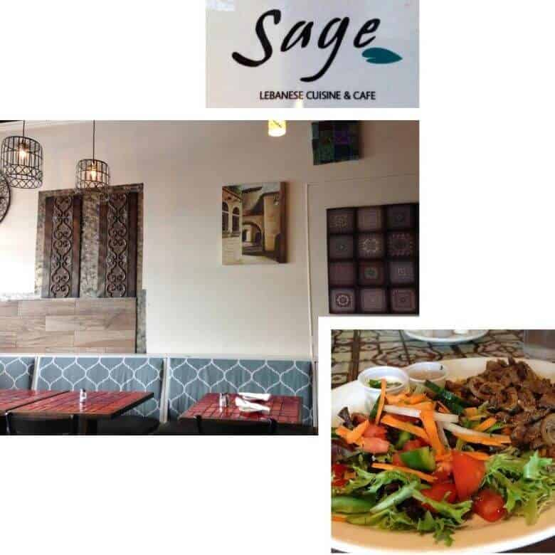 collage of exterior of Sage restaurant and plate of food