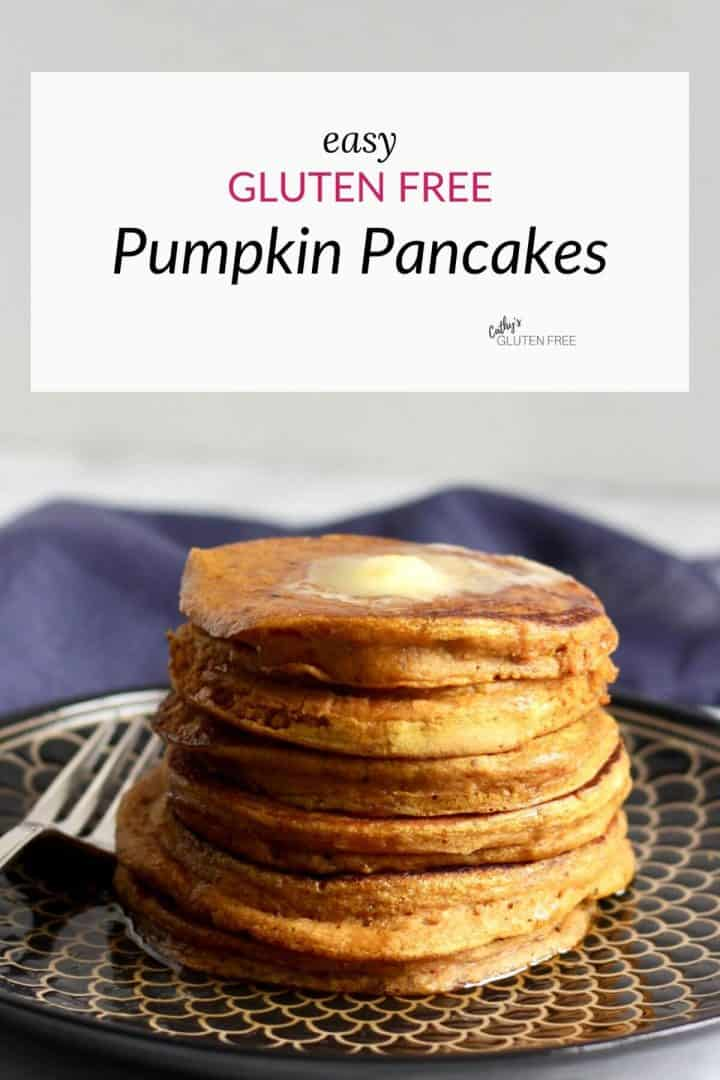 stack of gluten free pumpkin pancakes with butter on top