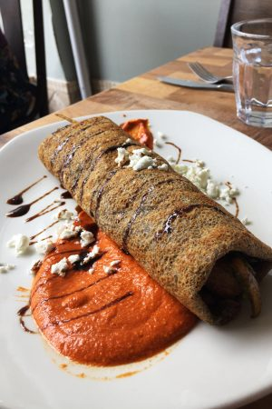 a gluten free buckwheat crepe I had while eating out