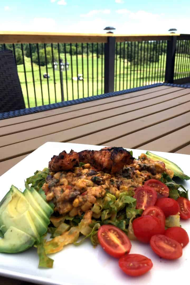 plate of food on outdoor patio