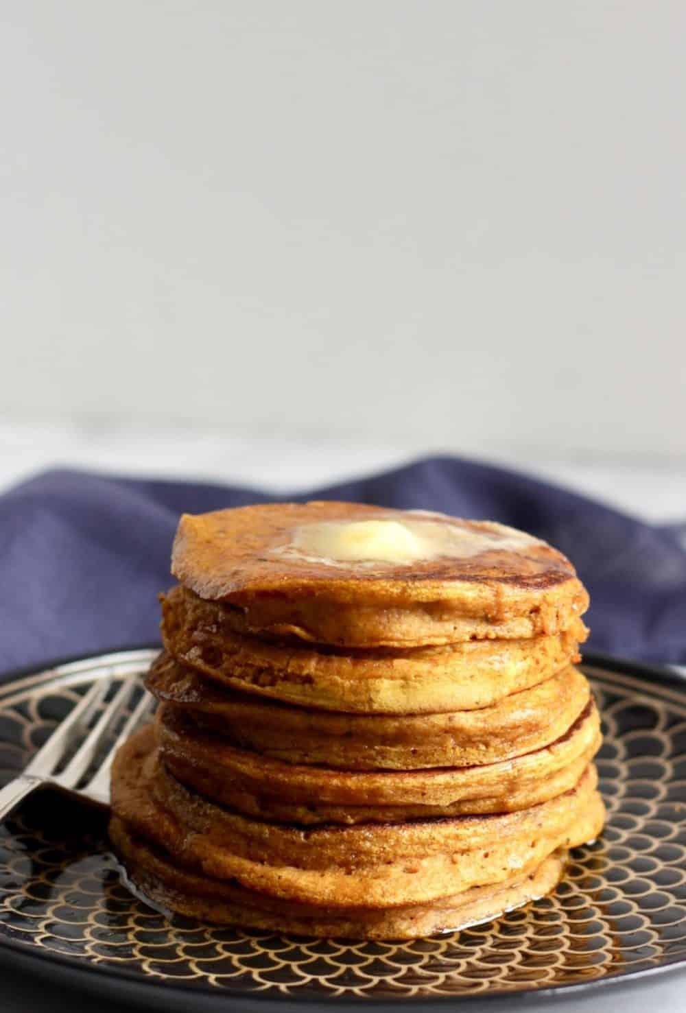 stack of gluten free pumpkin pancakes