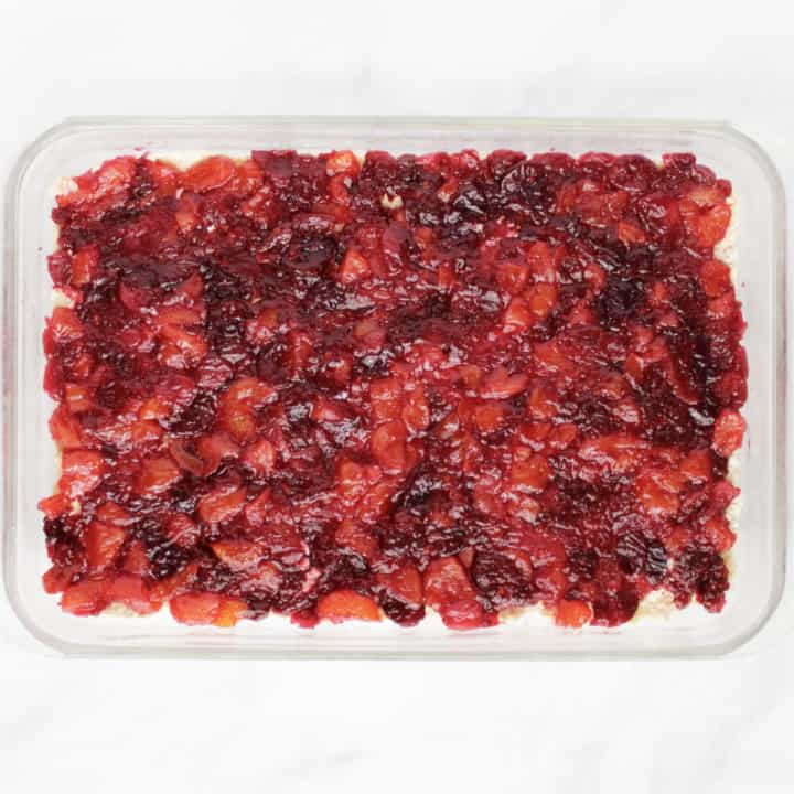 cranberry-almond layer spread into pan