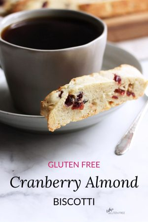 gluten free cranberry almond biscotti with coffee