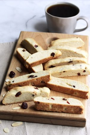 biscotti scattered over wooden board