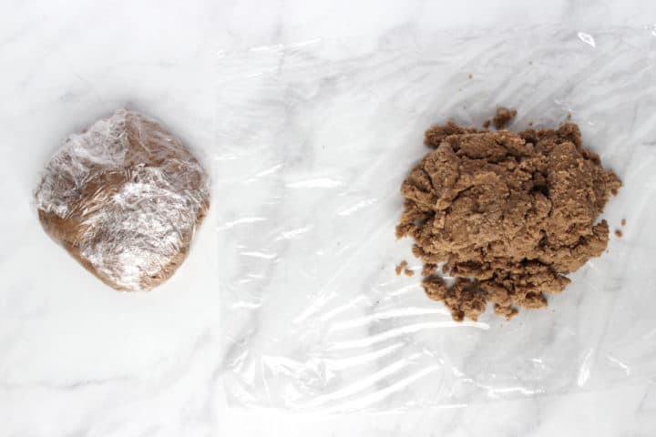 2 balls of dough, one wrapped in plastic and one not