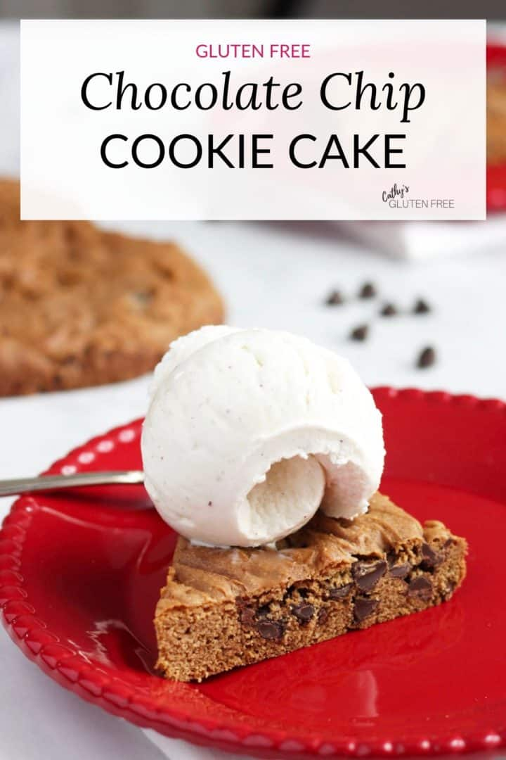 slice of chocolate chip cookie cake with vanilla ice cream on red plate + text