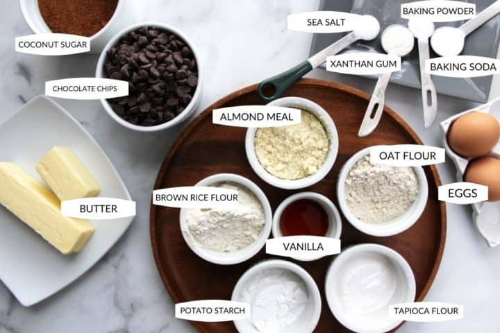 ingredients measured out for gluten free chocolate chip cookie cake