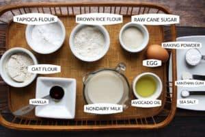 flat lay of gluten free pancake ingredients