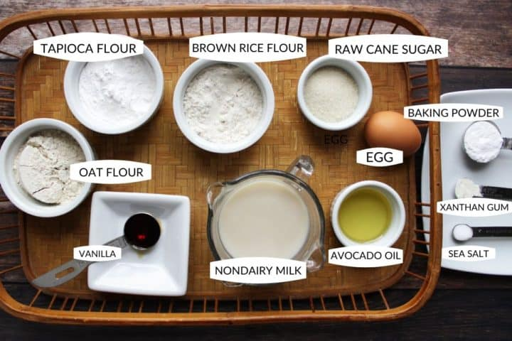 flat lay of gluten free pancake ingredients