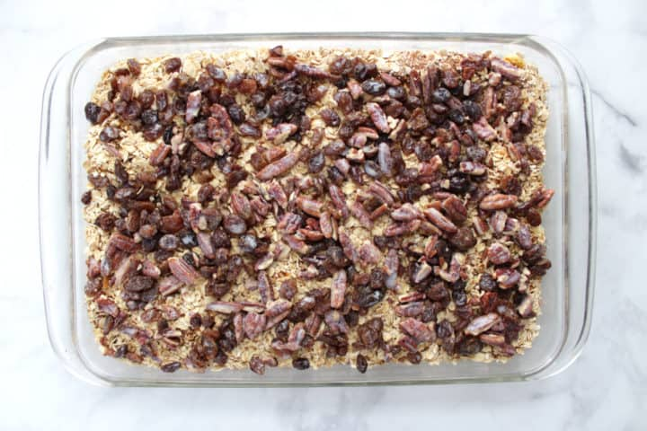 nuts and raisins scattered over casserole
