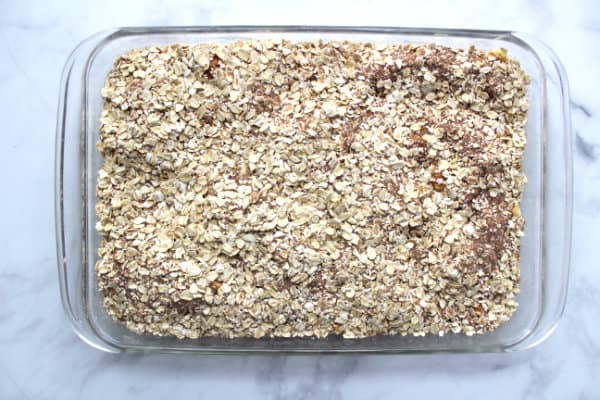 oatmeal layer in oblong pan