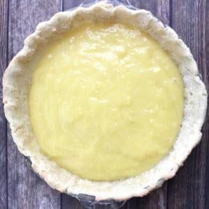 shiny, yellow filling in pie crust