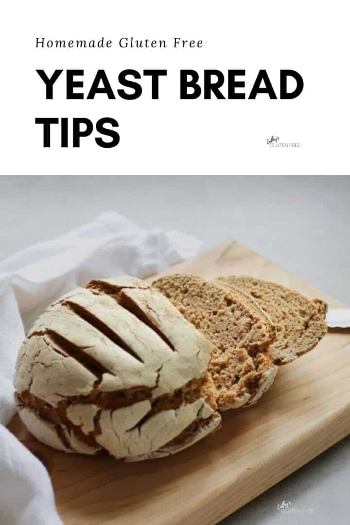 "sliced round loaf of bread of wooden cutting board with text, ""Gluten Free Yeast Bread Tips"""