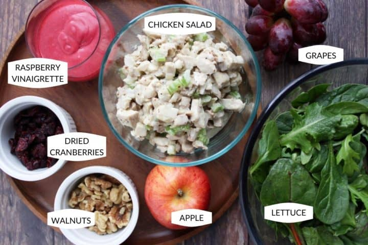 raspberry vinaigrette, chicken salad, grapes, dried cranberries, walnuts, apple, and salad greens