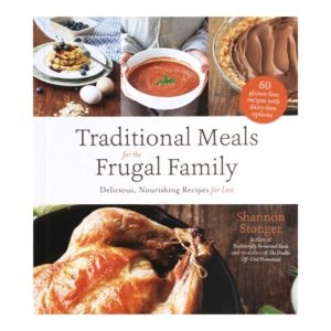Traditional Meals for the Frugal Family cover with pancakes, soup, pie, and chicken