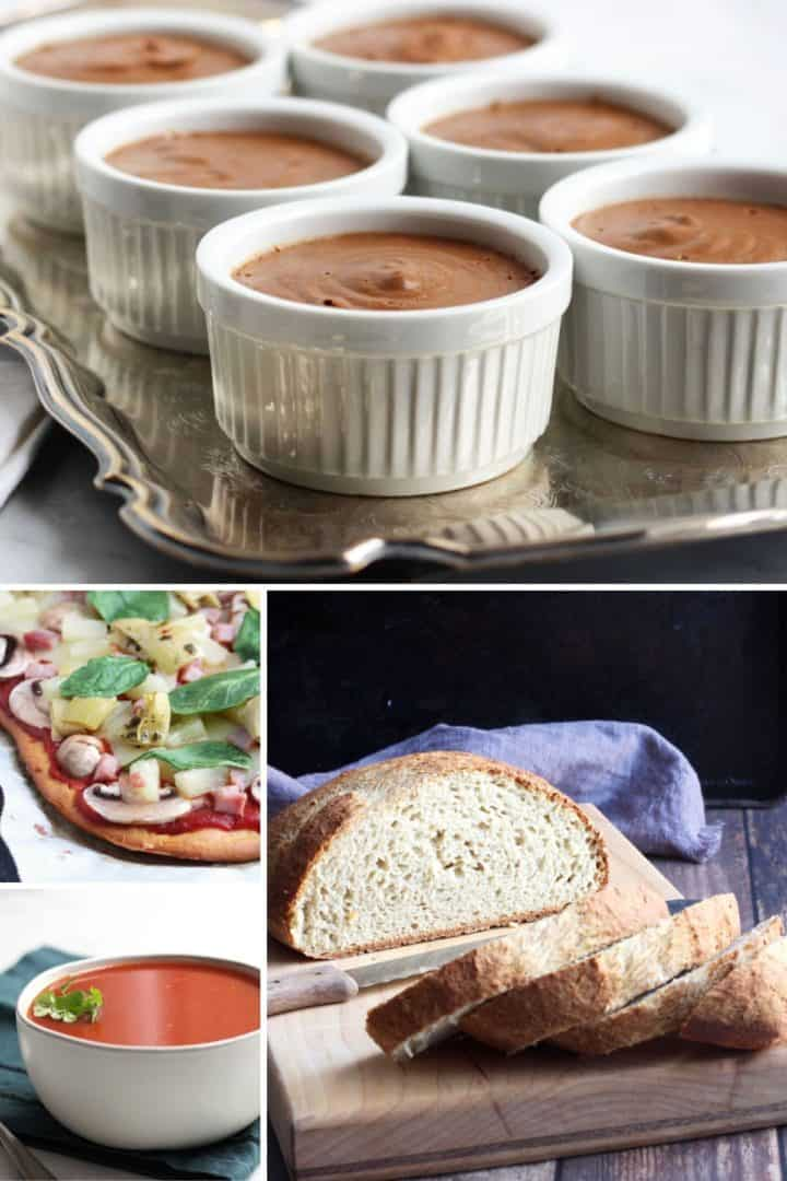 Collage of dairy free chocolate pudding, pizza, tomato soup, gluten free bread for frugal meals