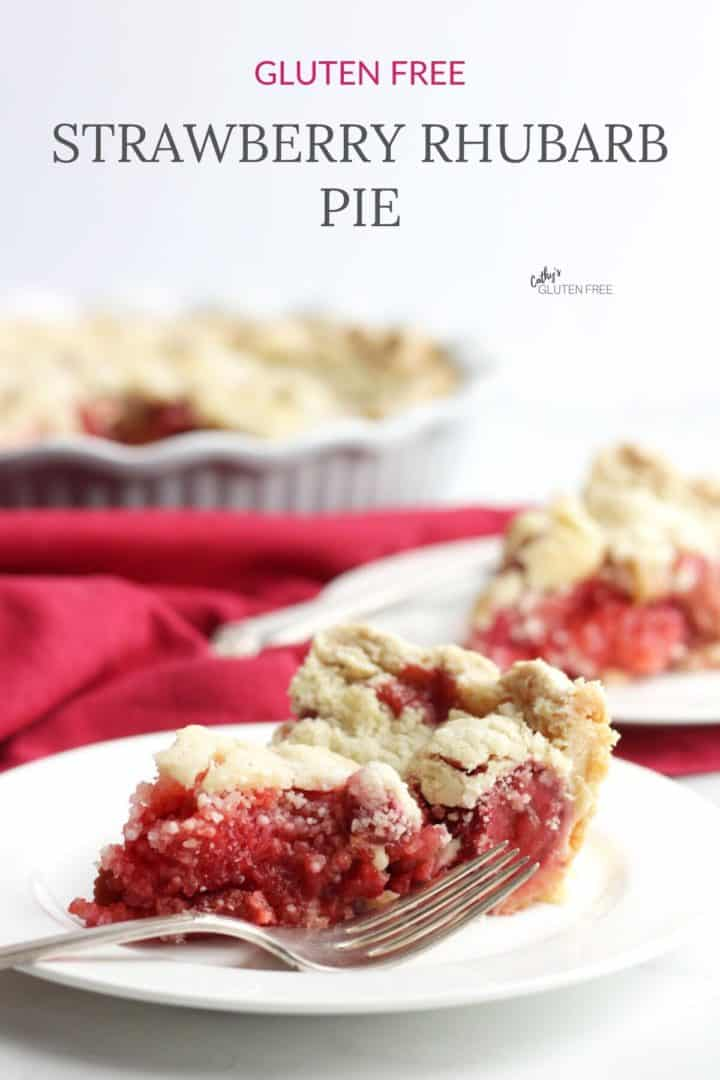 two pieces of gluten free strawberry rhubarb pie with remaining pie in background