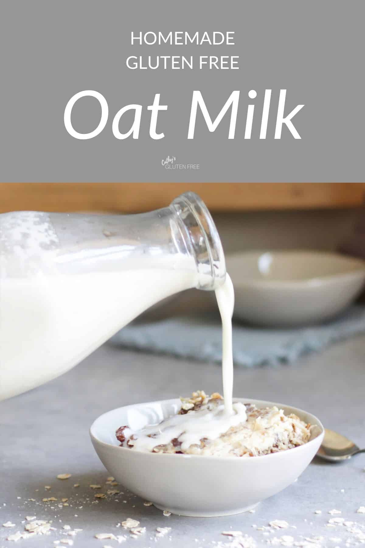 "milk pouring from a bottle over cereal, with ""Oat Milk"" text across top"