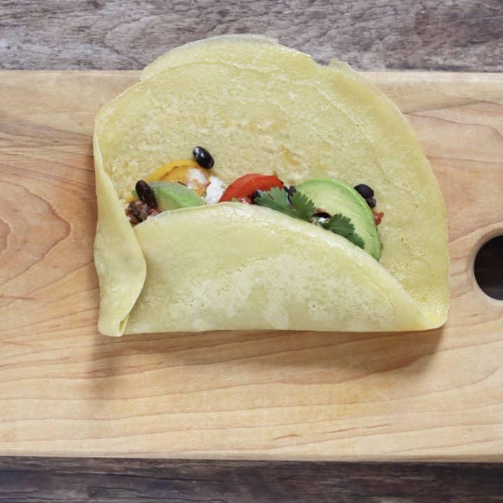 bottom of burrito folded up