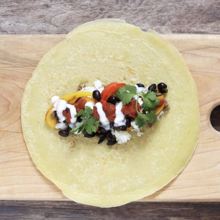 cilantro added to burrito filling
