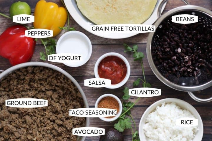 burrito ingredients set out with labels and viewed from above