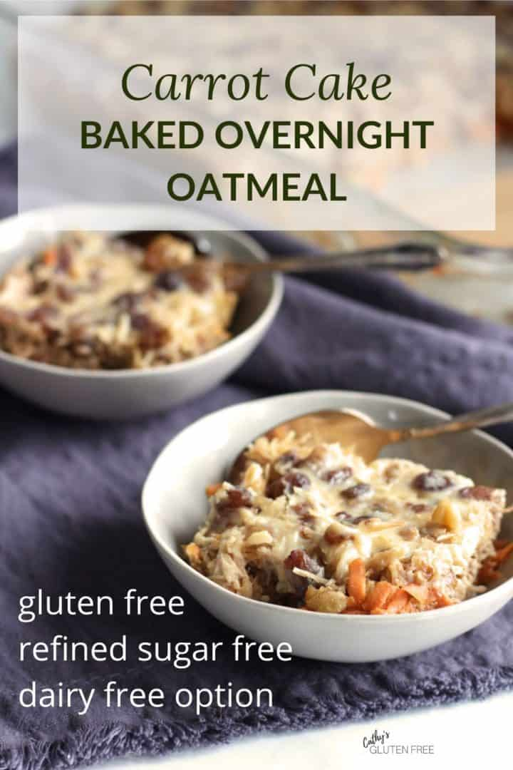 two bowls of carrot cake baked overnight oats served from pan, with text