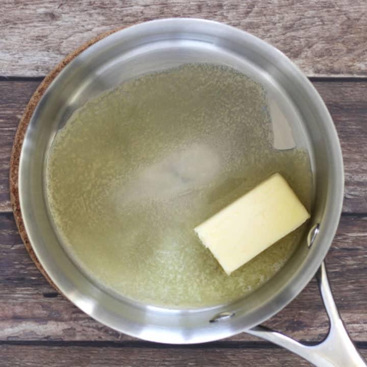 butter melting in saucepan