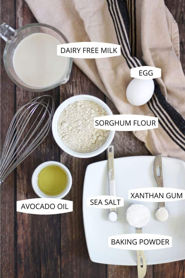sorghum flour, egg, vanilla, oil, baking powder, salt, and xanthan gum set out in small bowls