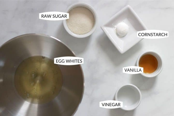 individual meringue ingredients in separate containers