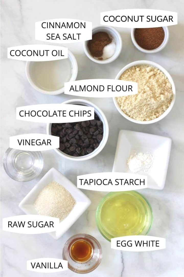 overhead view of 11 ingredients for s'mores pie measured out into small dishes