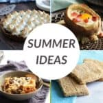"""summer ideas"" text over a collage of food photos"