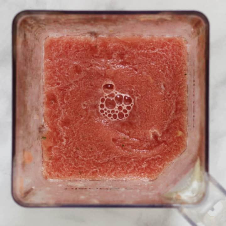 pink slush in blender jar