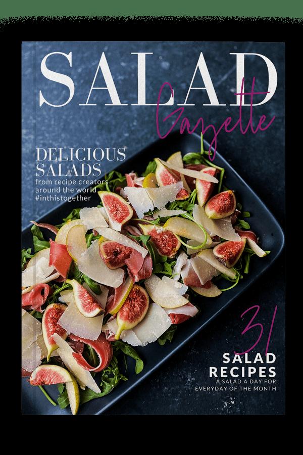 cover of Salad Gazette e-magazine, dark with stunning salad
