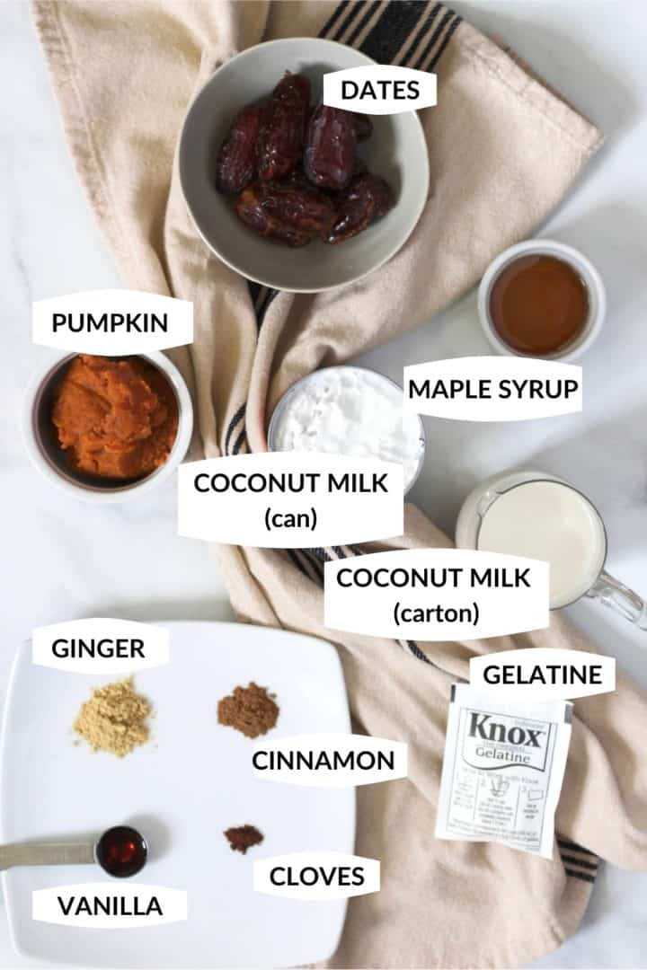all of the ingredients for dairy free pumpkin ice cream in small bowls with labels