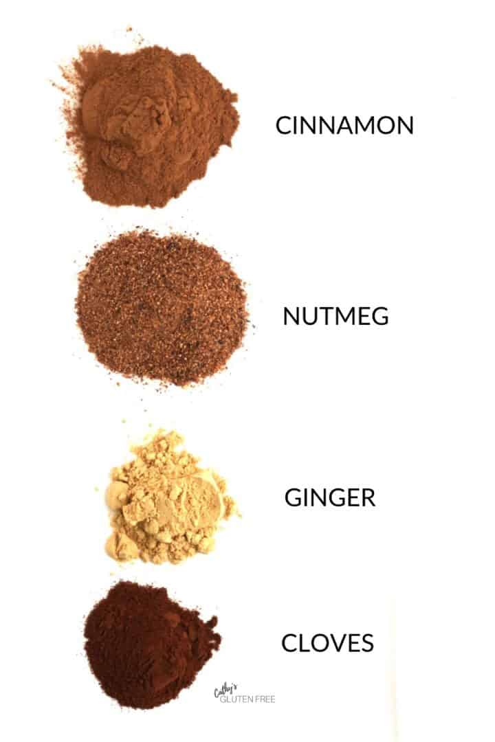 piles of cinnamon, nutmeg, ginger, cloves on white plate with labels