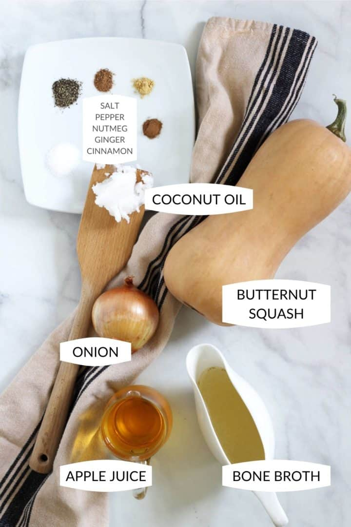 ingredients for butternut squash soup with apple laid out with labels