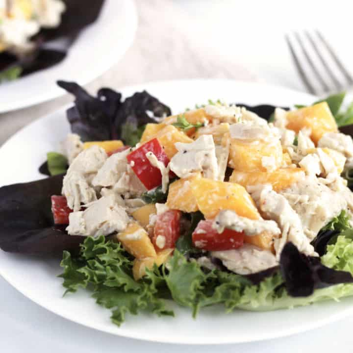 closeup shot of salad with chunks of chicken, mango, and red pepper in creamy dressing