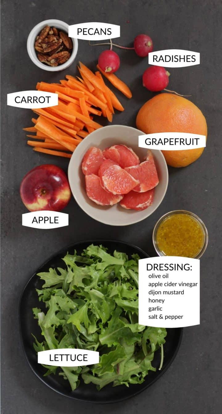 ingredients for grapefruit and greens salad with labels
