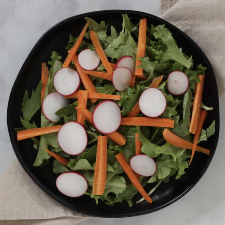 slices of radish added to the salad