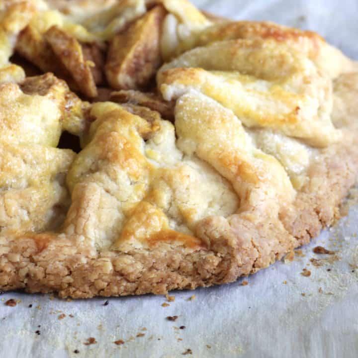 closeup of golden crust of apple galette