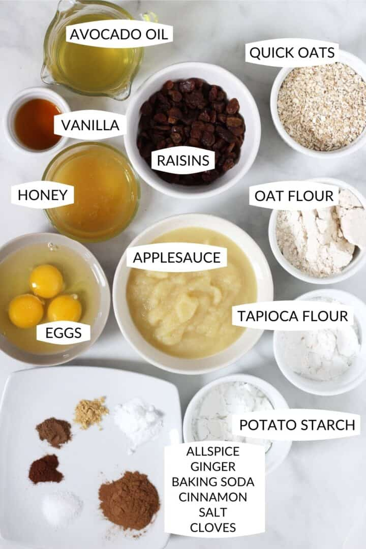 individual ingredients laid out in small bowls with labels