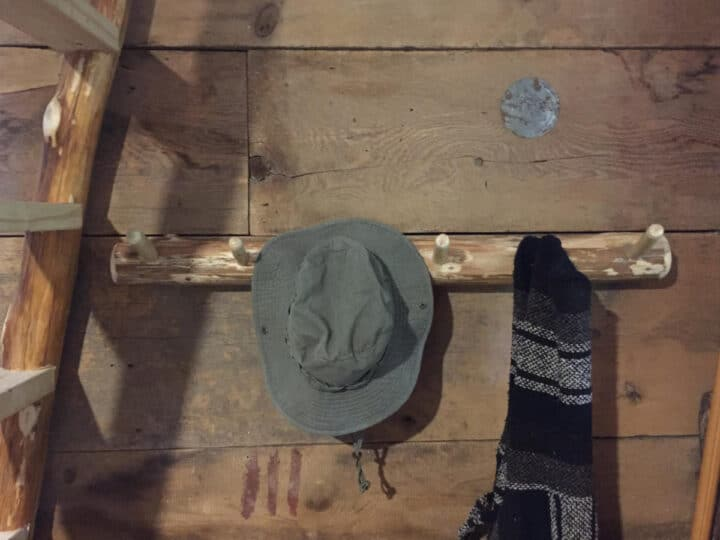 hat and hoodie hung on rustic log hooks