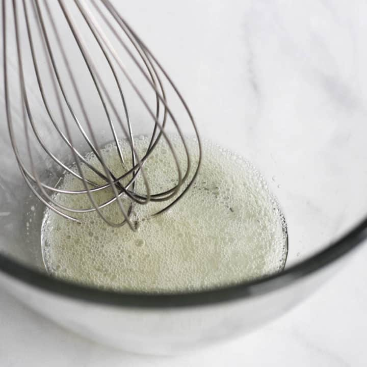 whisk in foamy egg white