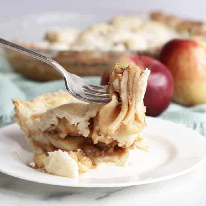 forkful of apple pie lifted in air above a piece of pie