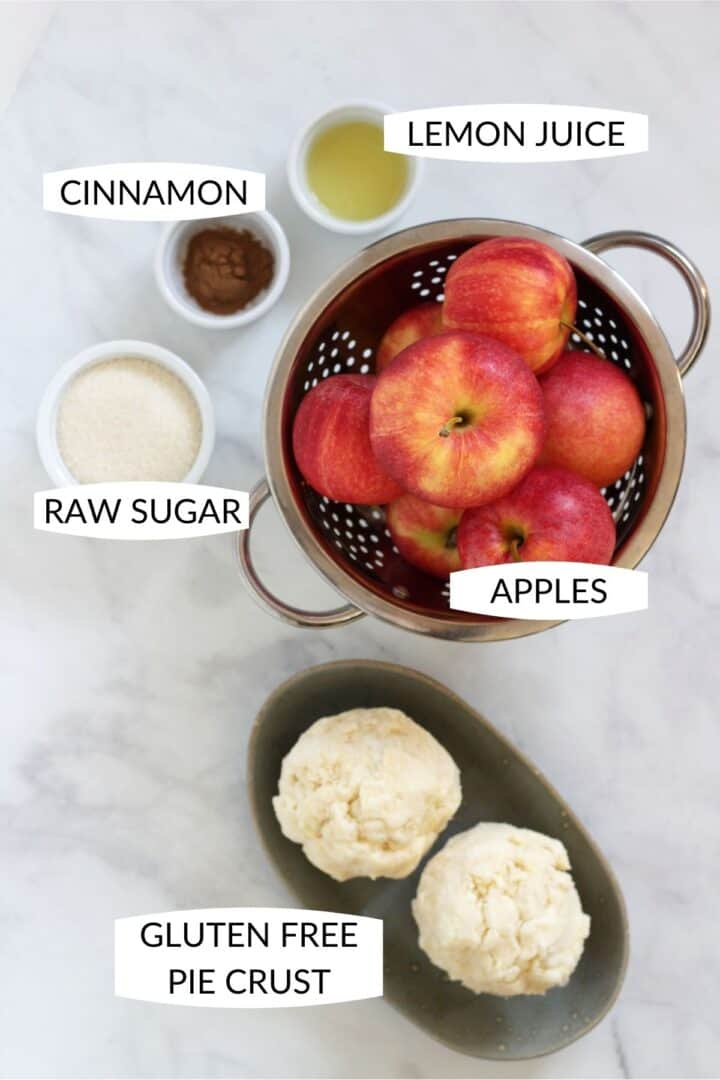 the 5 ingredients for apple pie with labels