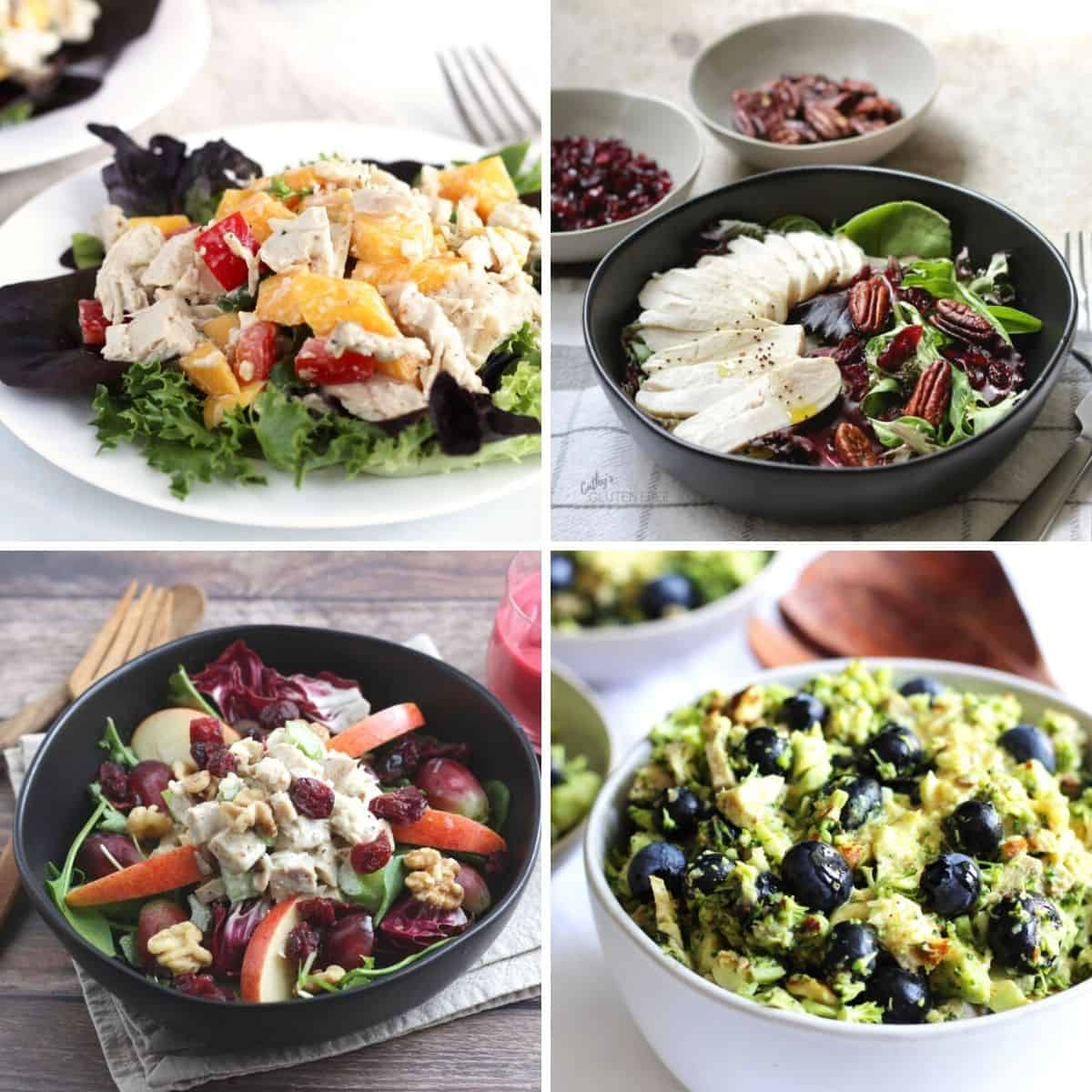 four photos of salads with cooked chicken or turkey