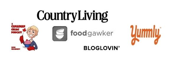 logos for Country Living, Foodgawker, Yummly, and A Canadian Celiac Podcast