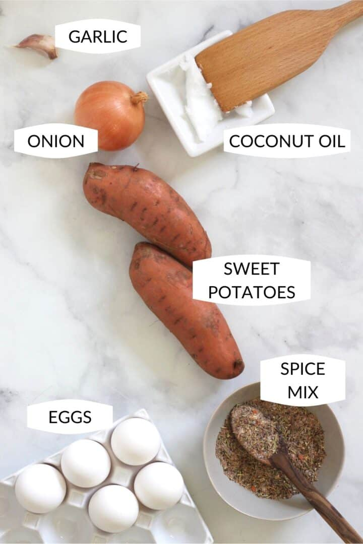 six ingredients for sweet potato laid out with labels