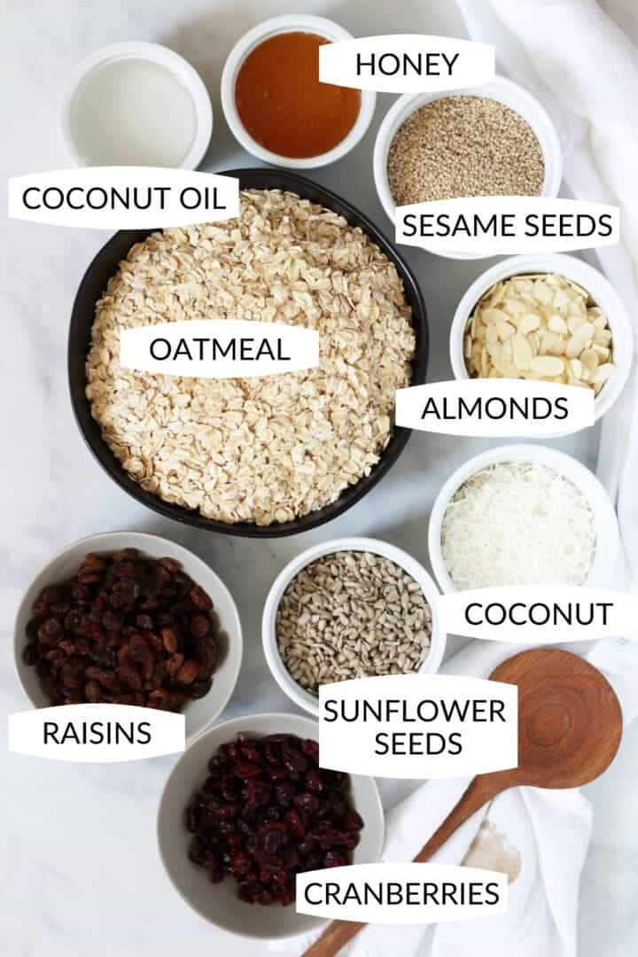 ingredients for this easy granola recipe in small bowls with labels